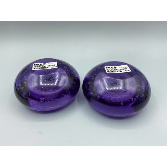 Details about  /Set of 2 Controlled Bubble IKEA Art Glass Candle Holders Blue /& Purple